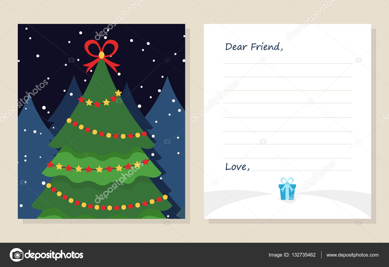 Template greeting card New year\'s or Merry Christmas letter to ...
