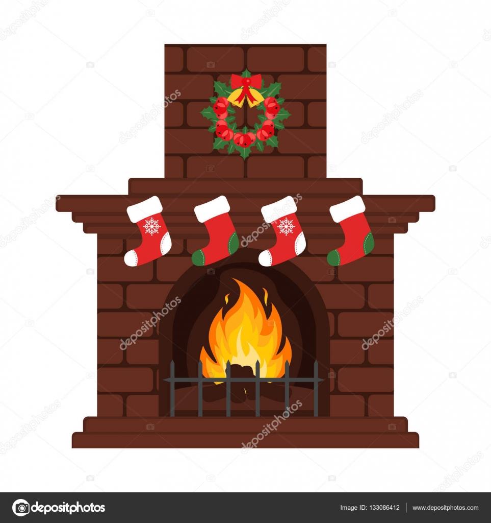 Chimenea de Navidad de estilo plano de coloridos dibujos animados