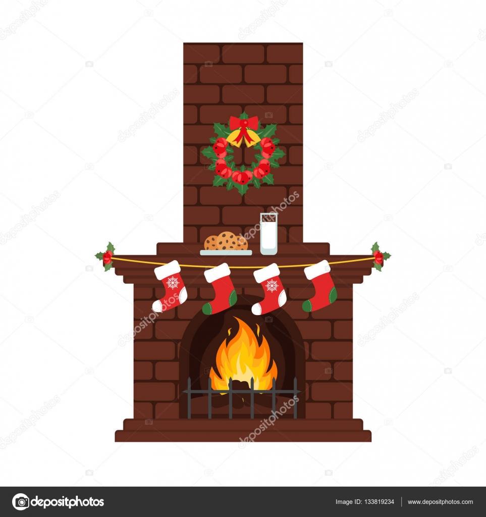 Cartoon christmas fireplace | Christmas fireplace in