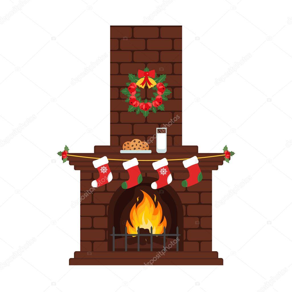 Cartoon christmas fireplace | Christmas fireplace in ...