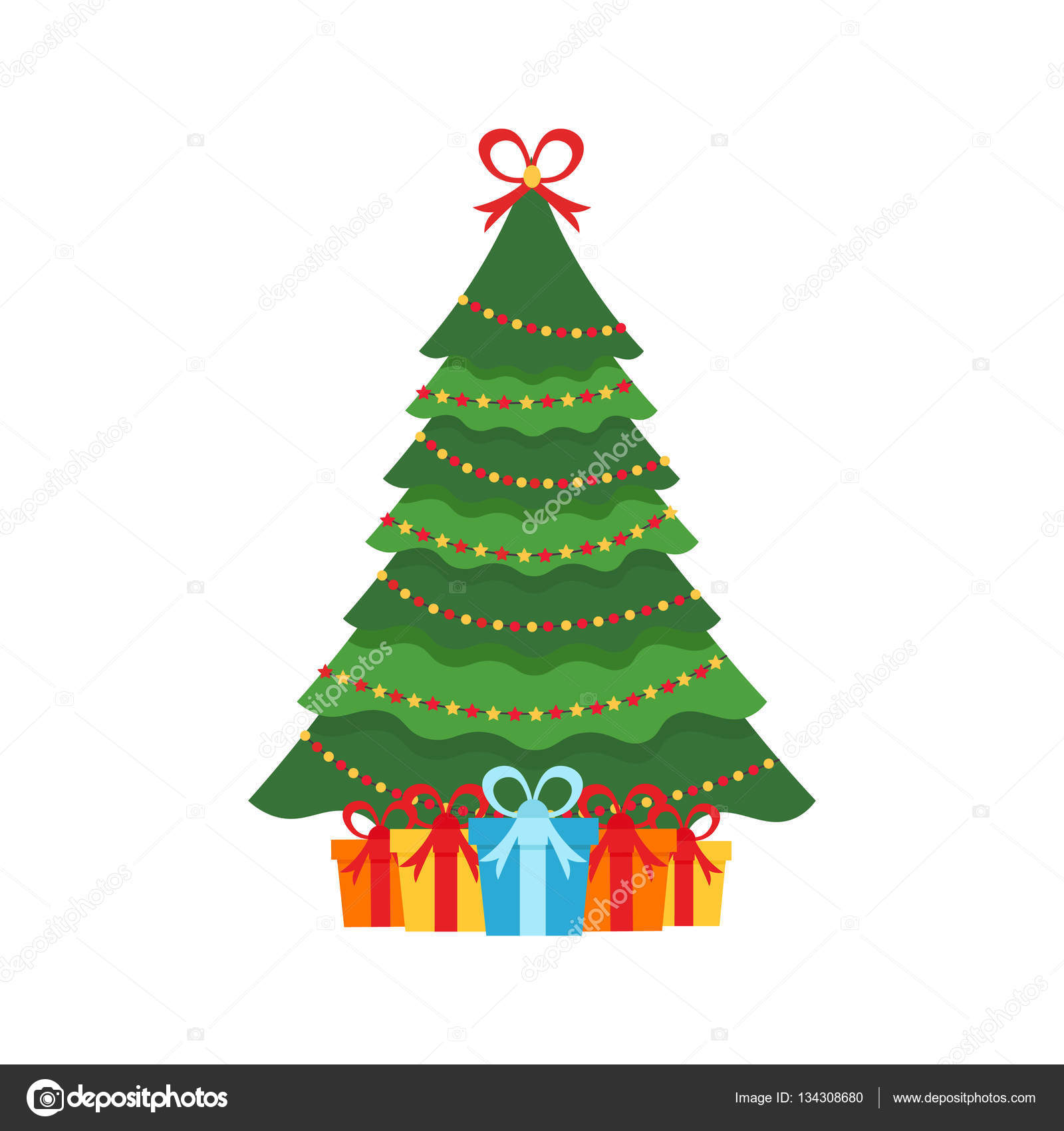 beautiful elegant green christmas tree multi colored garland colorful gifts vector illustration