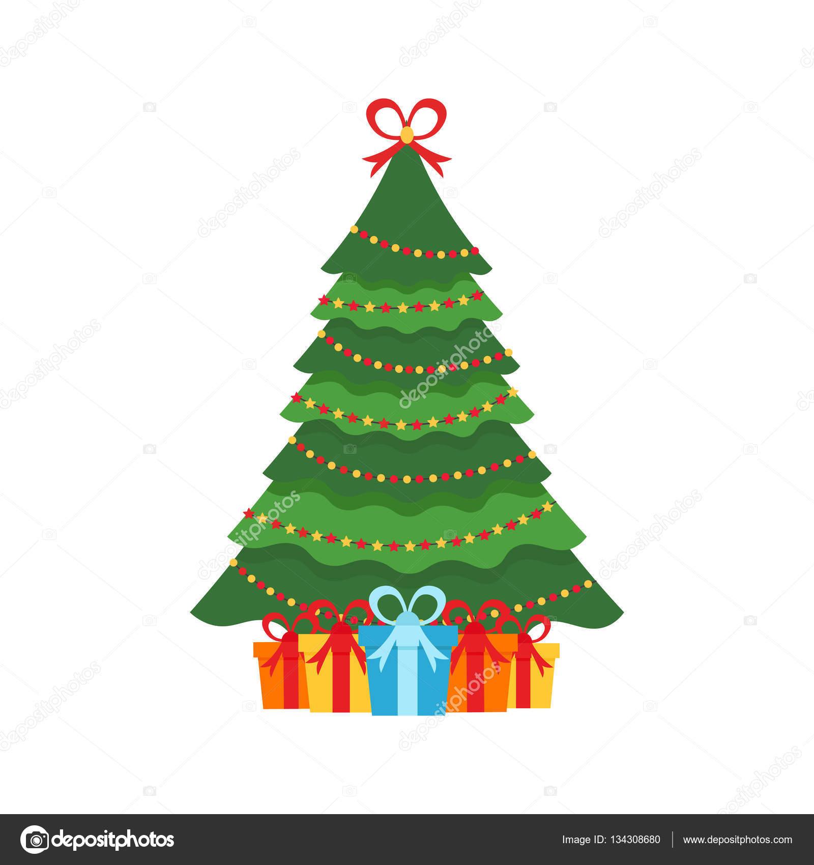 Beautiful elegant green Christmas tree. Multi-colored garland ...