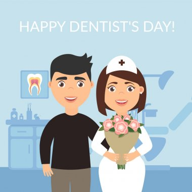Happy Dentists Day. Dental clinic. Holiday greeting card medical titles.The patient thanked the dentist and gave the doctor a bouquet of flowers. Vector modern flat style.