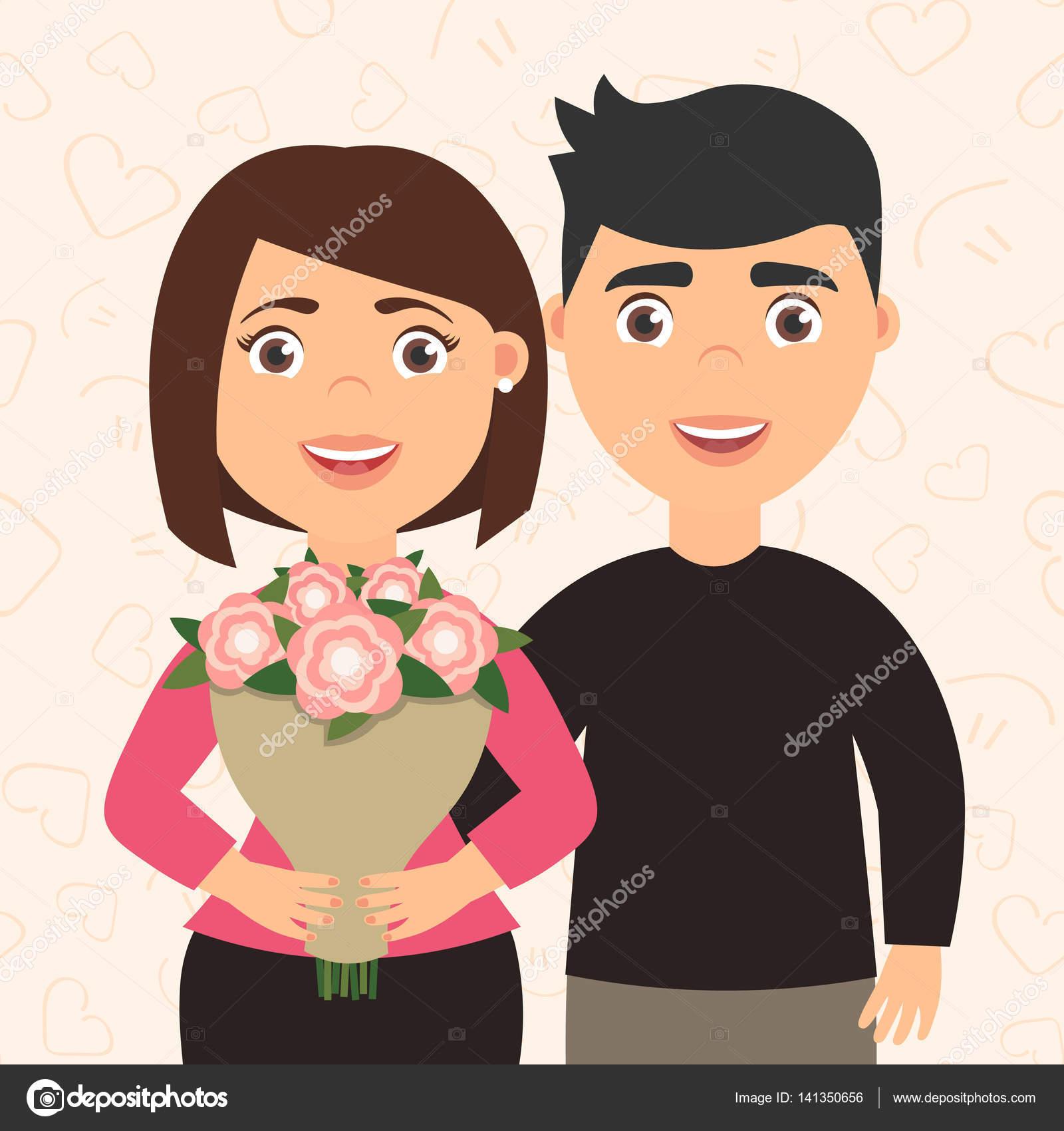 Romántica Pareja Hombre Y Mujer. Chica Con Un Ramo De