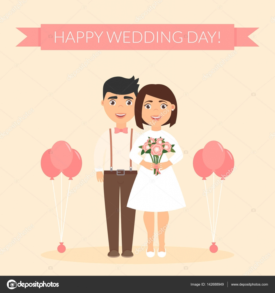 Happy Wedding Day Greeting Card For Newlyweds Festive Vector Illustration Cute Beautiful Couple