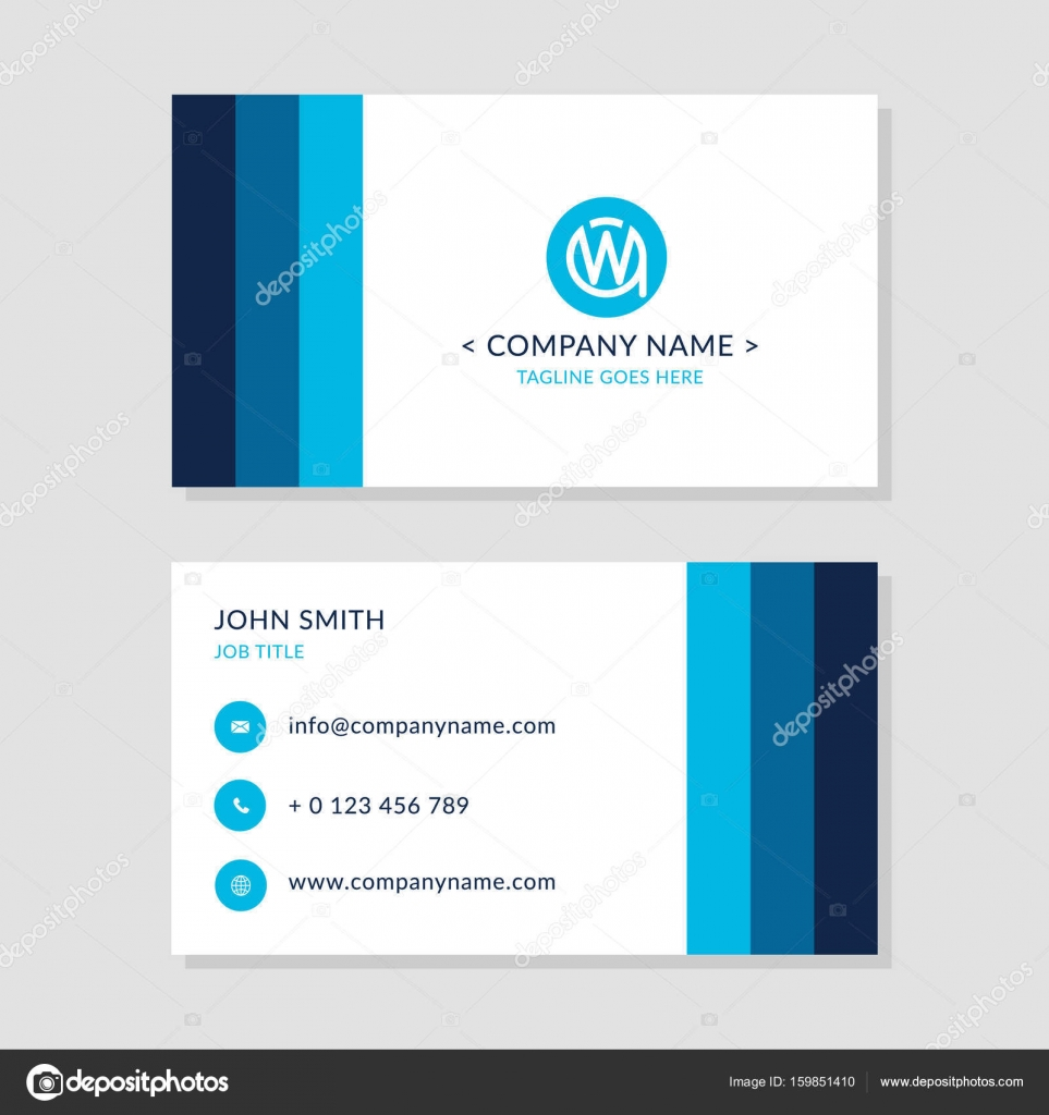 Modern business card blue colors set eps10 vector flat design modern business card blue colors set eps10 vector flat design creative company logo initial letters wa or aw two sides of cards reheart Gallery