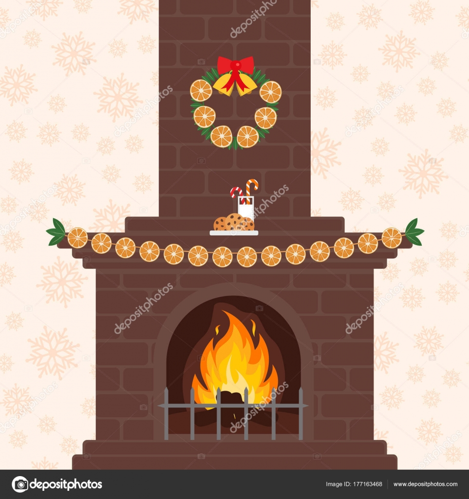 Christmas fireplace in colorful cartoon flat style  Orange