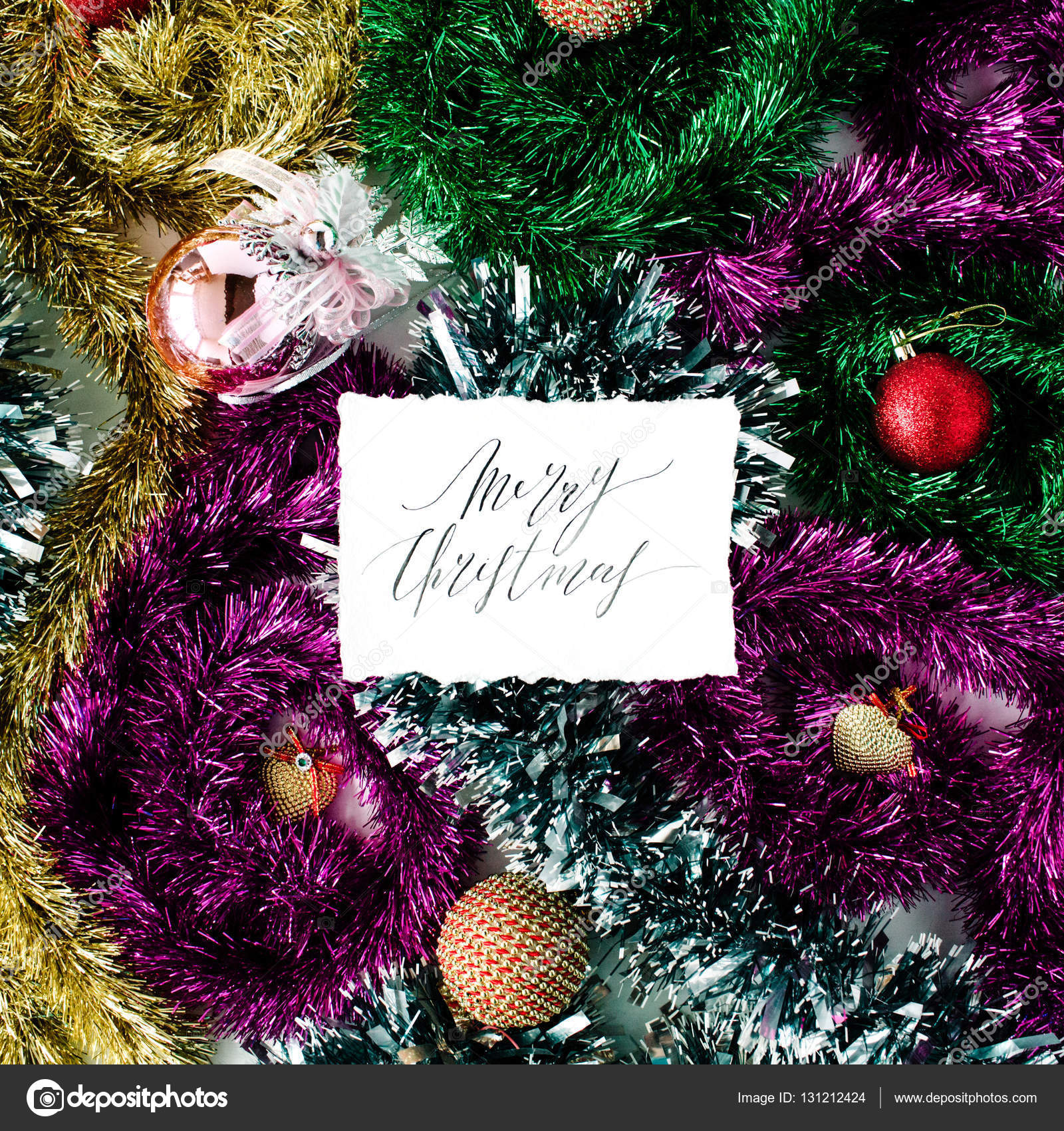 Kalligraphie Worte, Frohe Weihnachten und Weihnachts-Dekorationen ...