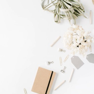 Trendy flat lay minimal feminine workspace