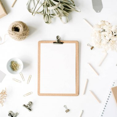 Trendy flat lay minimal feminine workspace