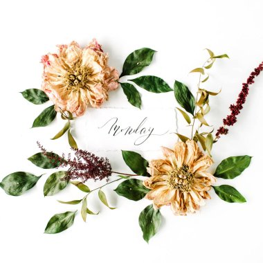 Beautiful flat lay floral composition