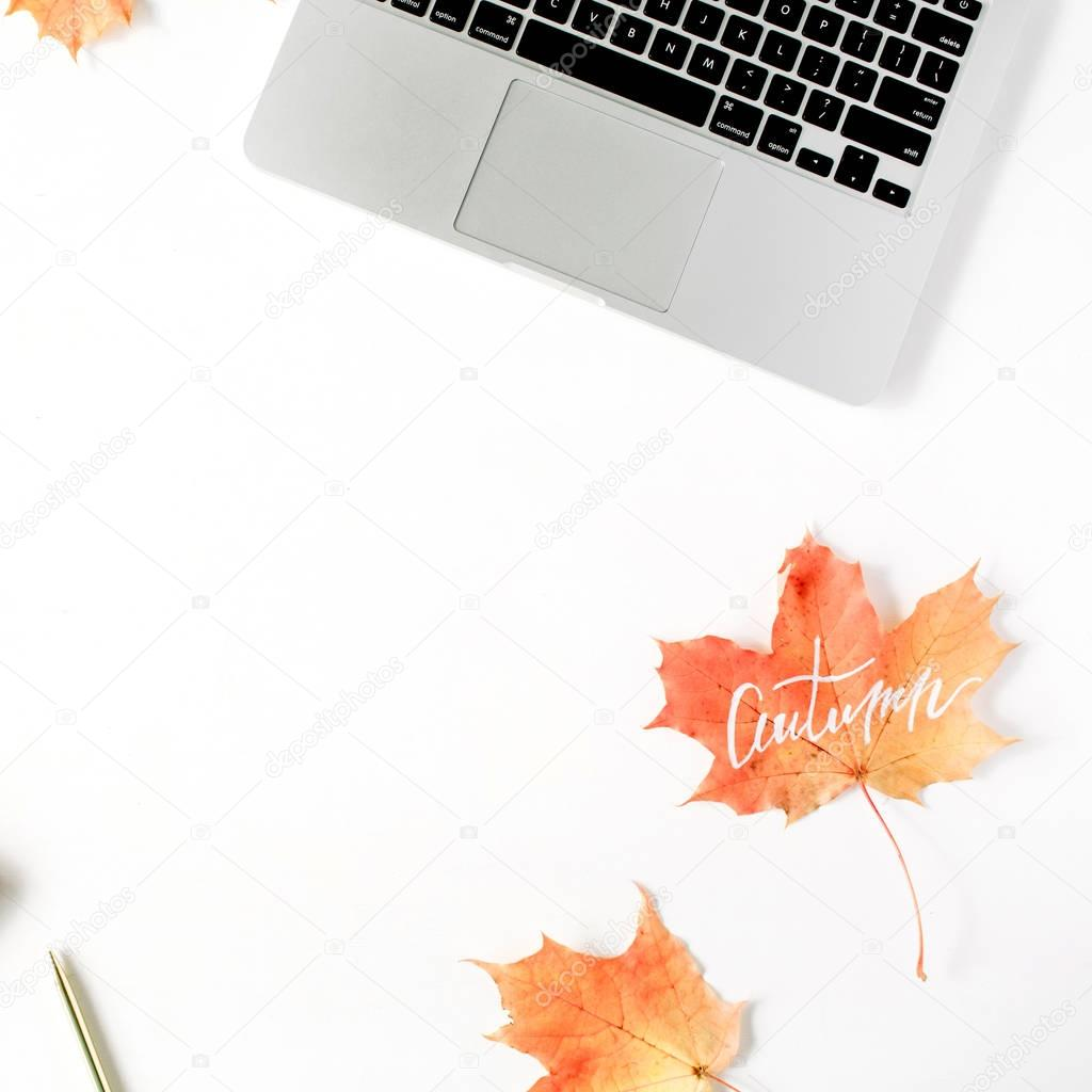 Trendy flat lay composition with autumn leaf