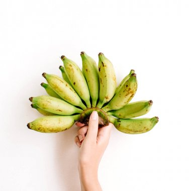 Hand holding bunch of bananas