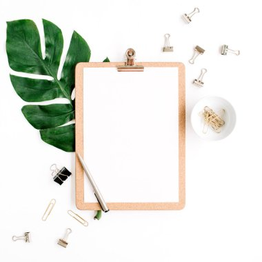 Mockup with clipboard, palm leaf and clips