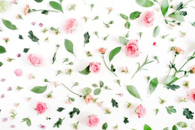 Floral pattern made of pink and beige roses,