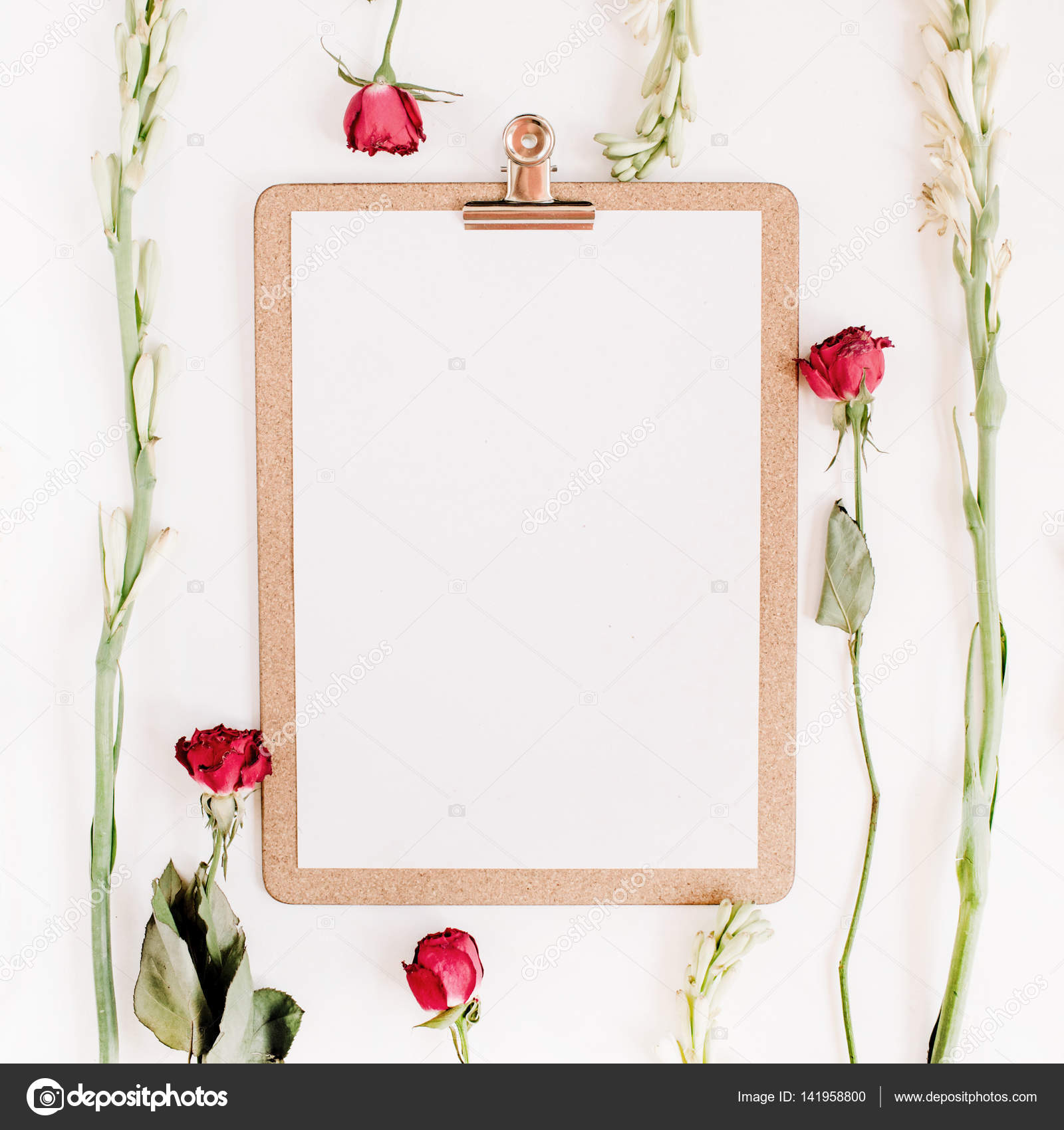 Red roses and white flowers frame with clipboard — Stock Photo ...