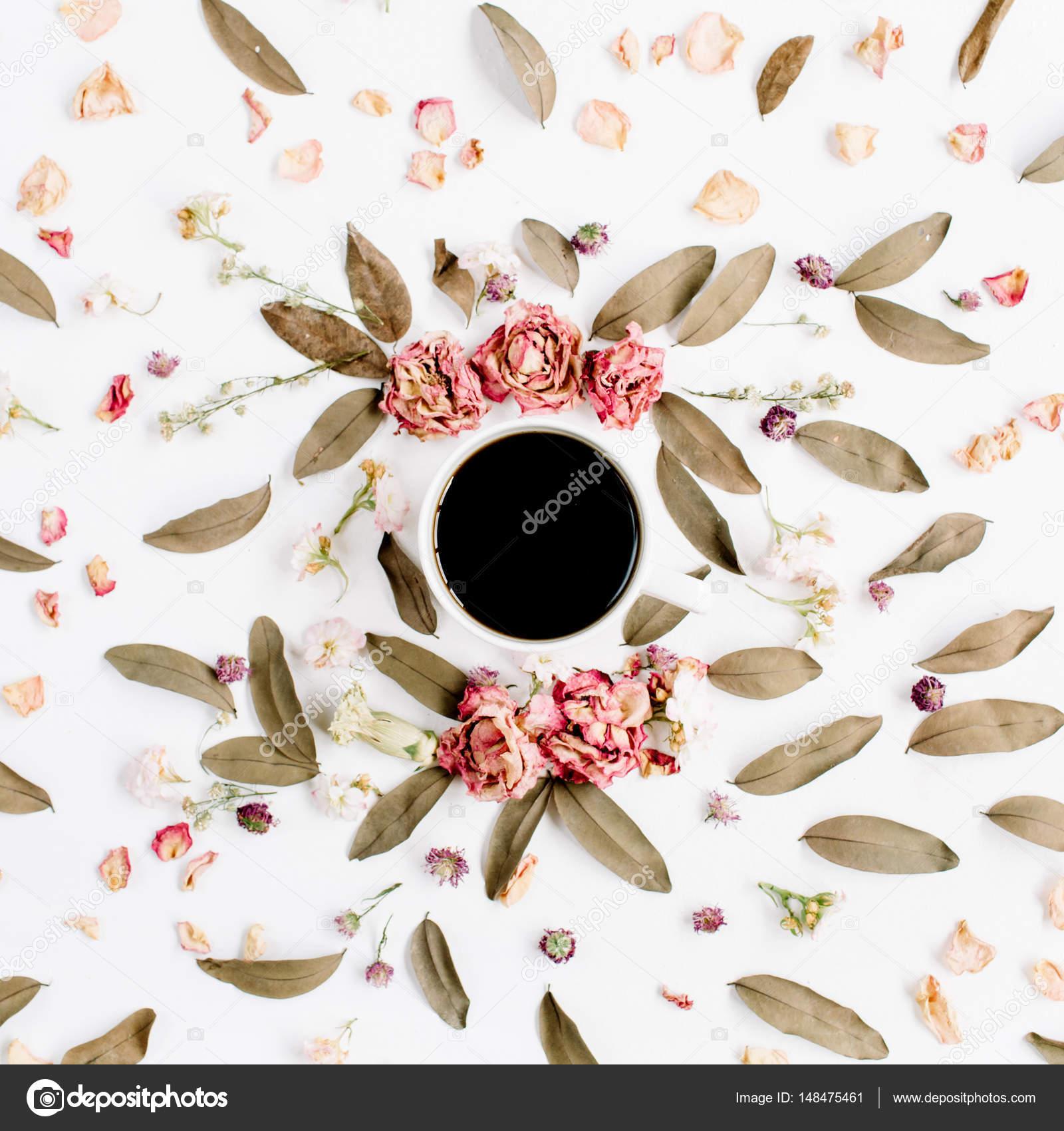 Ronda patrón de corona de marco con rosas, café, rosa capullos ...