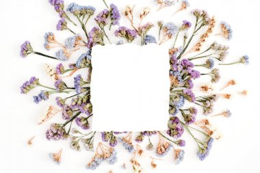 blue and purple dried flowers frame