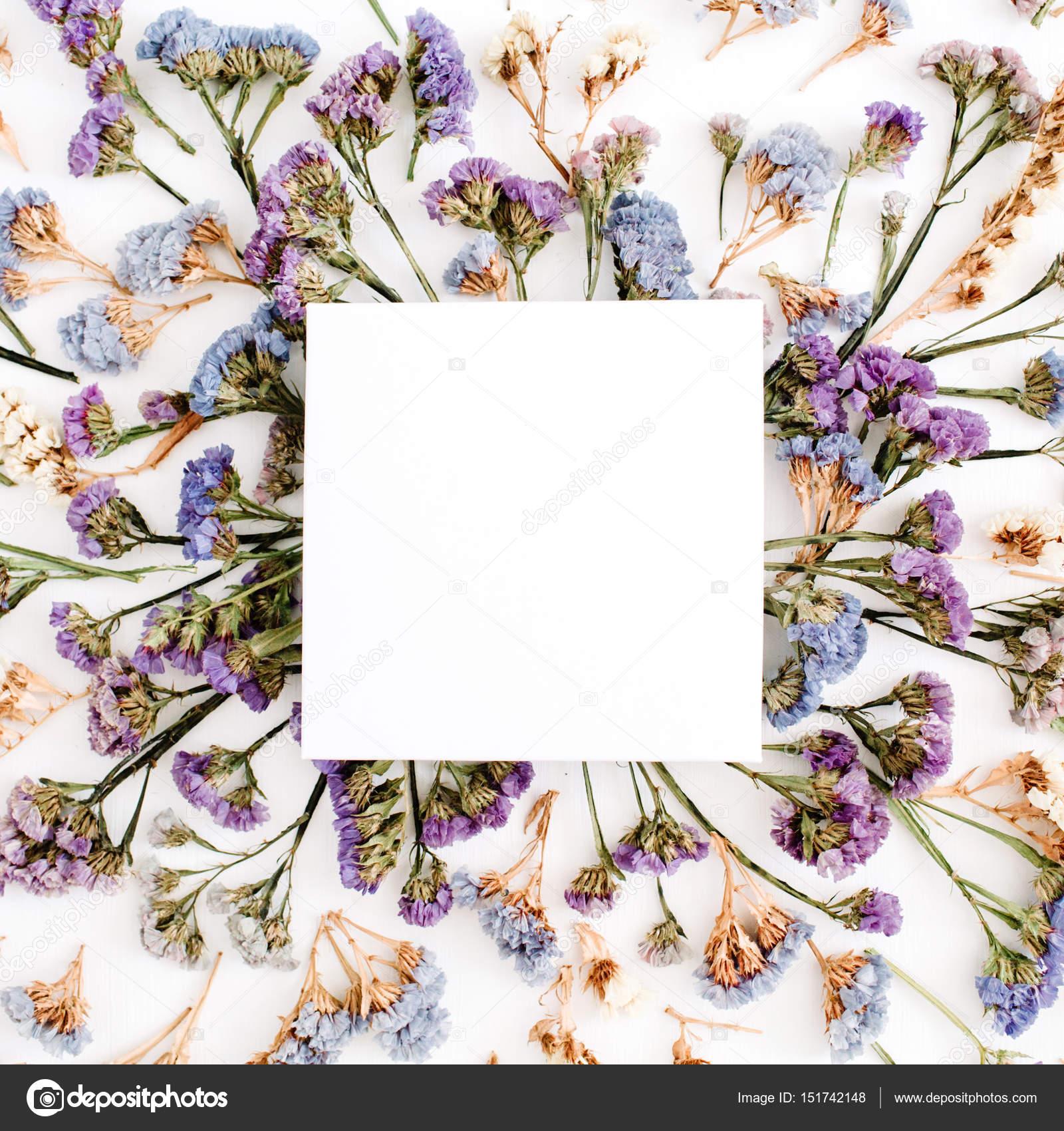 Vacío de papel blanco en blanco en marco azul y morado de flores ...