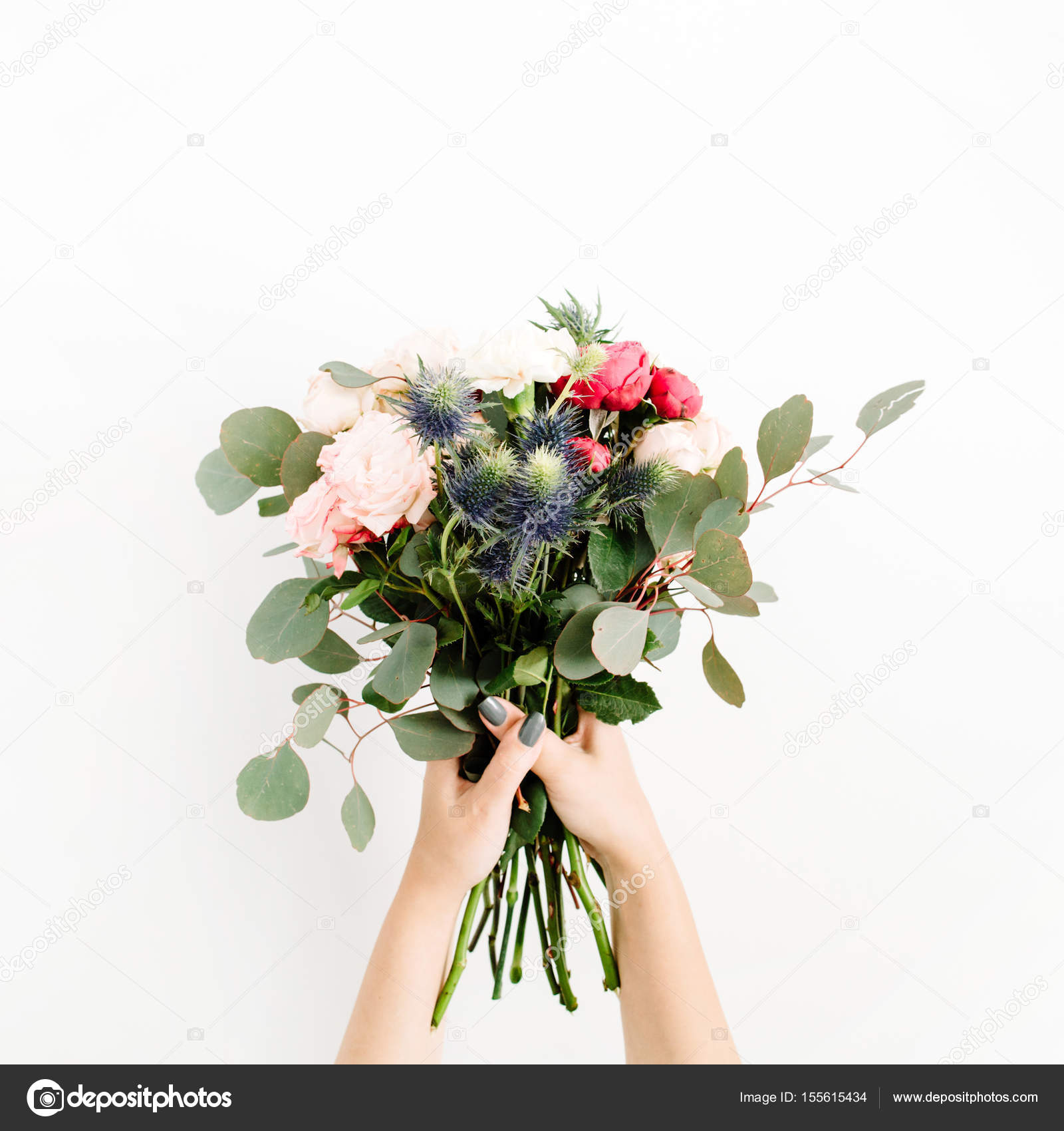 Girls hands holding beautiful flowers bouquet stock photo girls hands holding beautiful flowers bouquet stock photo izmirmasajfo