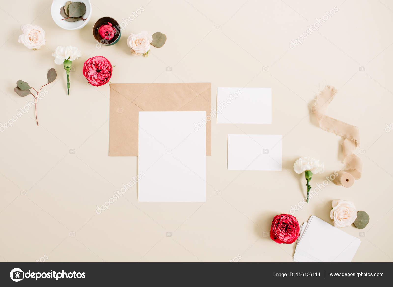 Wedding Invitation Cards Craft Envelope Pink And Red Rose Flower Buds White Carnation On Pale Pastel Beige Background Workspace With Paper Blank