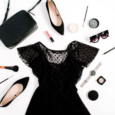 Trendy fashion black styled woman clothes