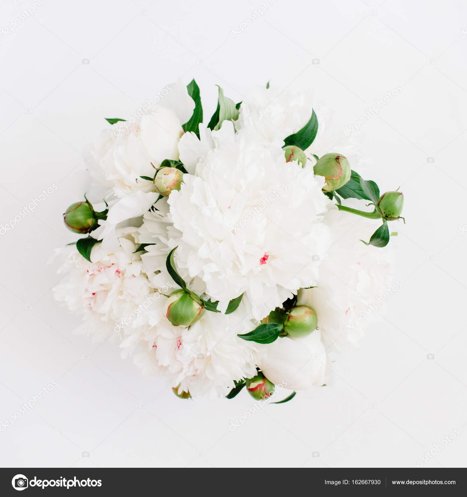 Beautiful White Peonies Flowers Bouquet Stock Photo