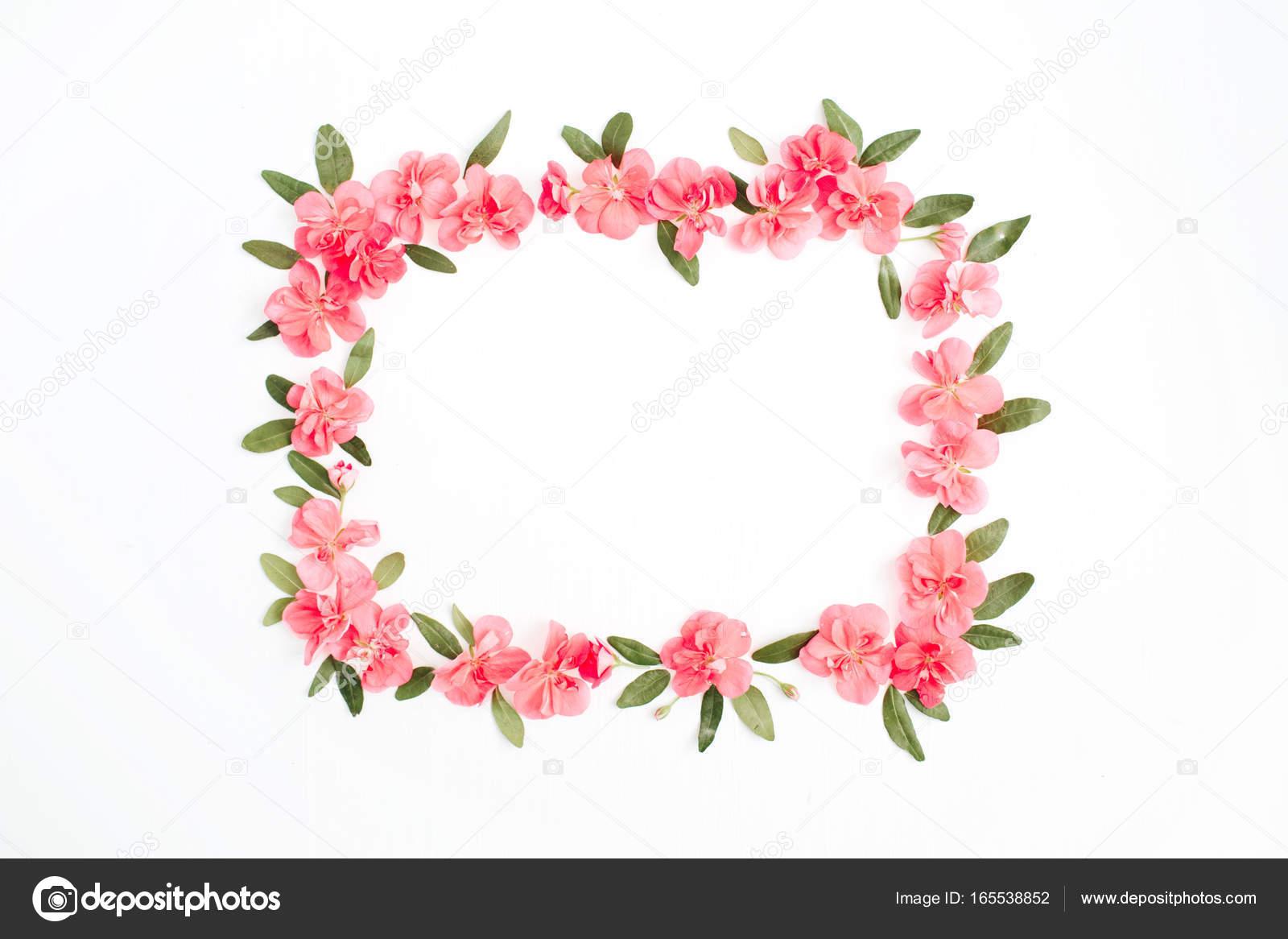 Blumenrahmen mit Platz für Text von Rosa Hortensie Blumen gemacht ...