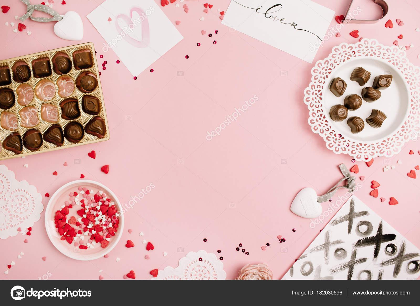 Día San Valentín Concepto Amor Burlan Marco Confeti Corazón Símbolo ...