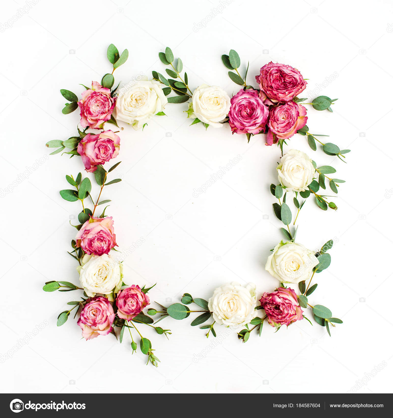 Floral Frame Wreath Made Red White Rose Flowers Eucalyptus Branches ...
