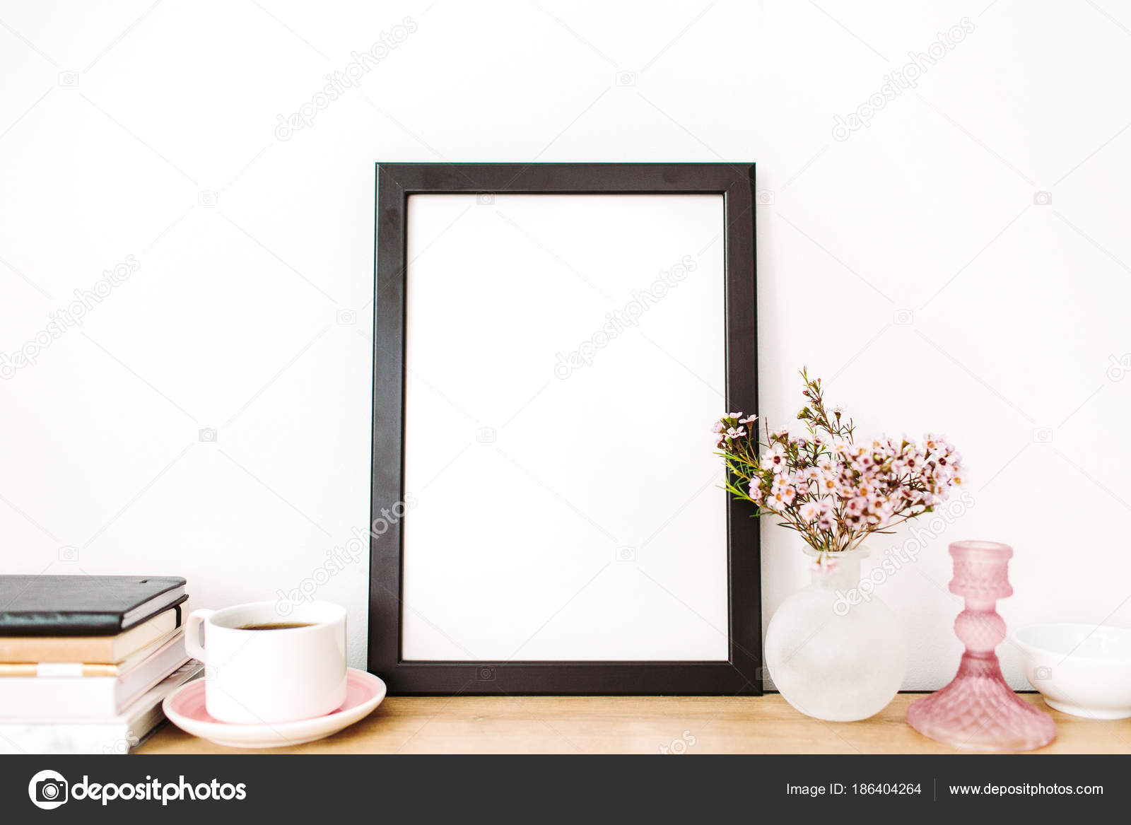 Home Interior Photo Frame Mockup Blank Space Cup Coffee Wild Stock