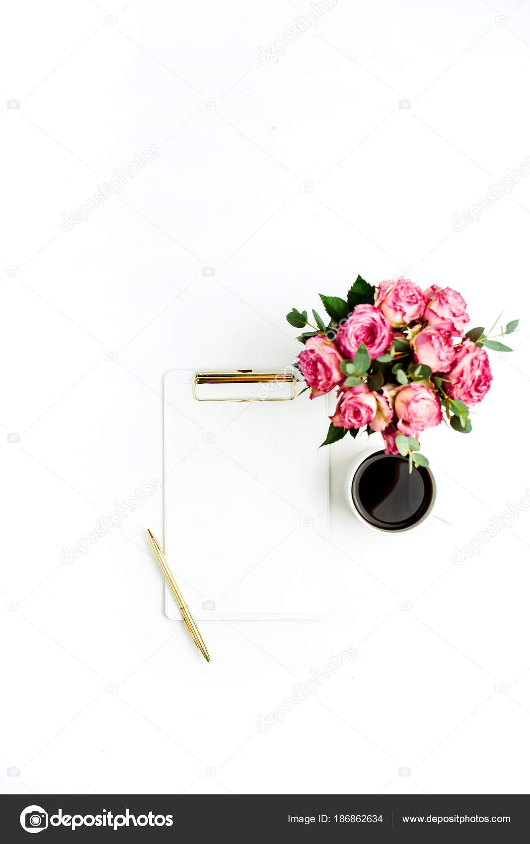 Clipboard Rose Flowers Bouquet Coffee Pen White Background Flat Lay ...