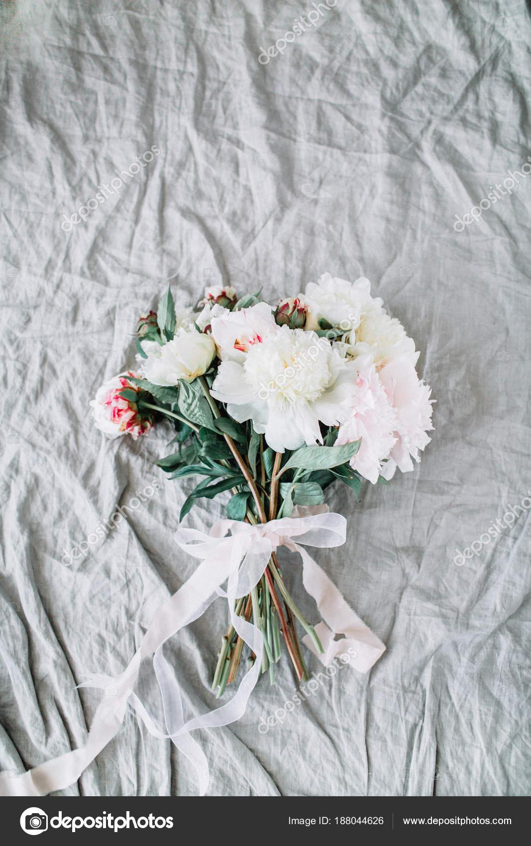 Bridal Wedding Flowers Bouquet White Peonies Ribbon Grey Linen Flat ...