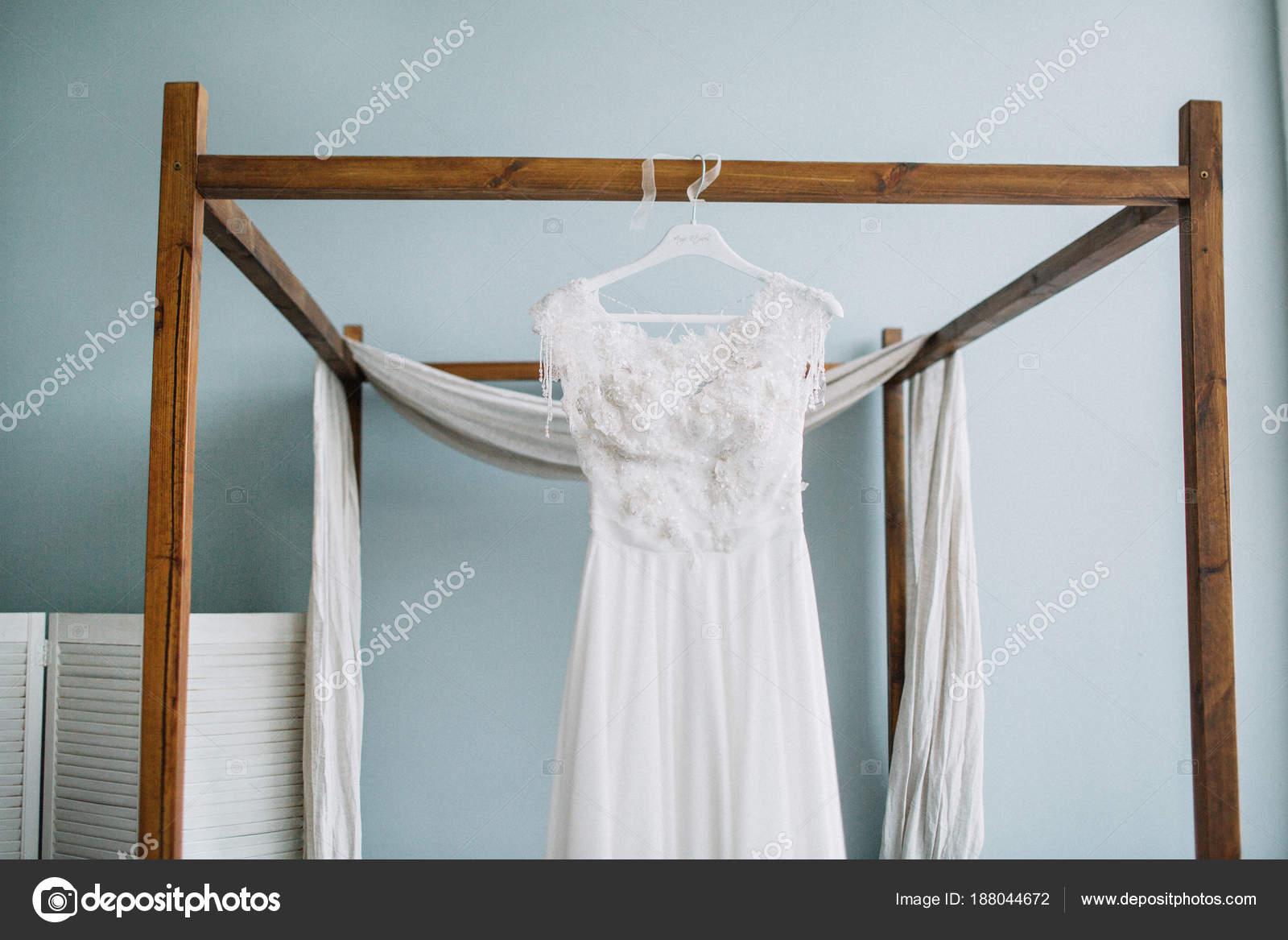Beautiful White Wedding Bridal Dress Front Bed Pastel Blue Interior ...