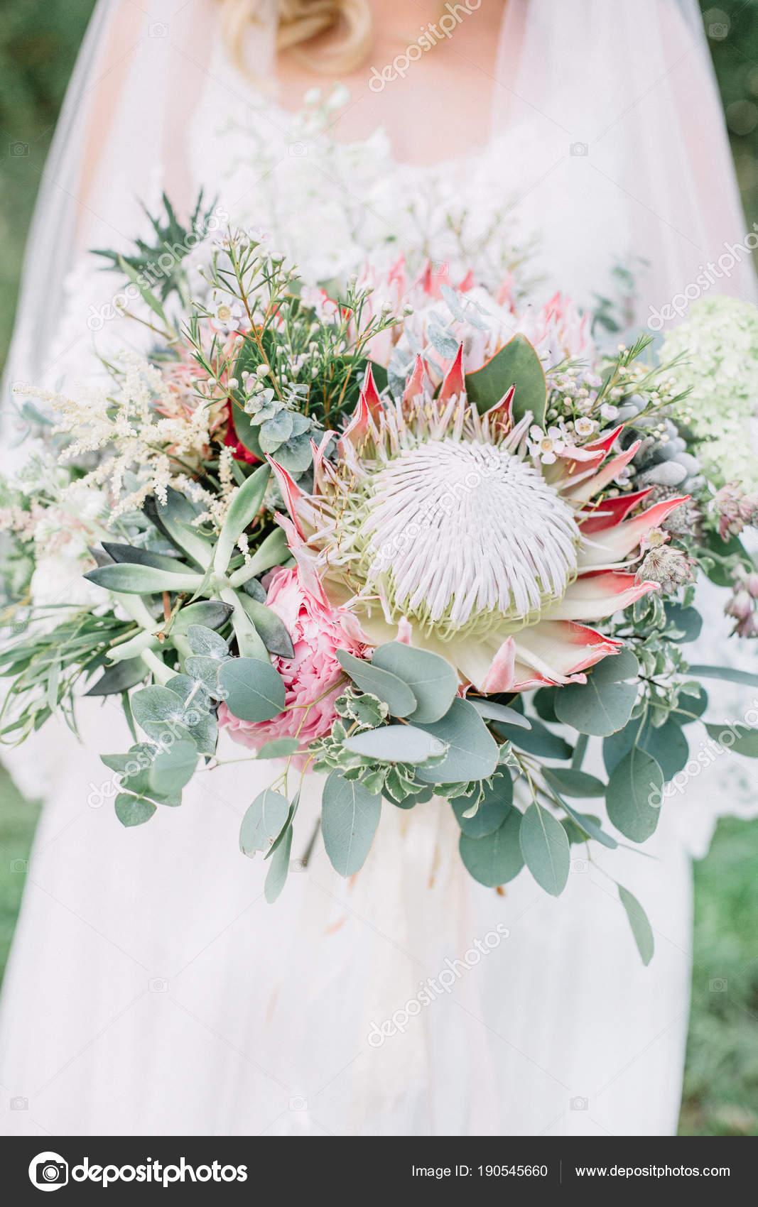 Beauty Wedding Bouquet Protea Flowers Succulents ...
