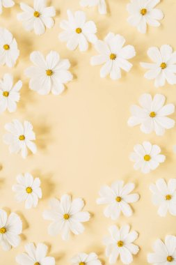 Minimal styled concept. Wreath made of white daisy chamomile flowers on pale yellow background. Creative lifestyle, summer, spring concept. Copy space, flat lay, top view.