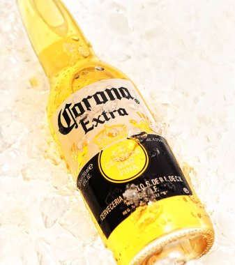 Corona Extra beer bottle on ice background, cropped stock vector