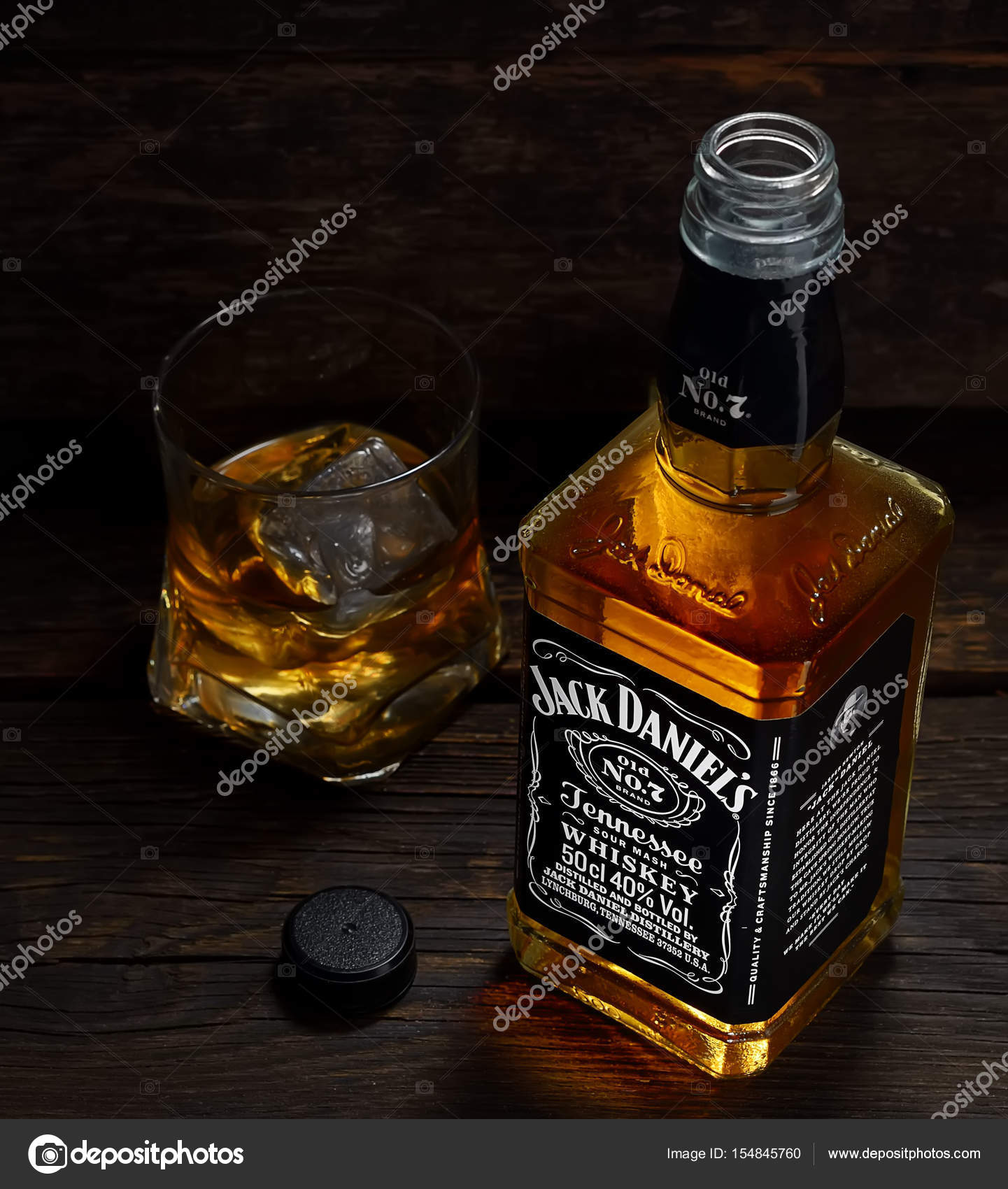 jack daniel s whiskey bottle and glass stock editorial photo