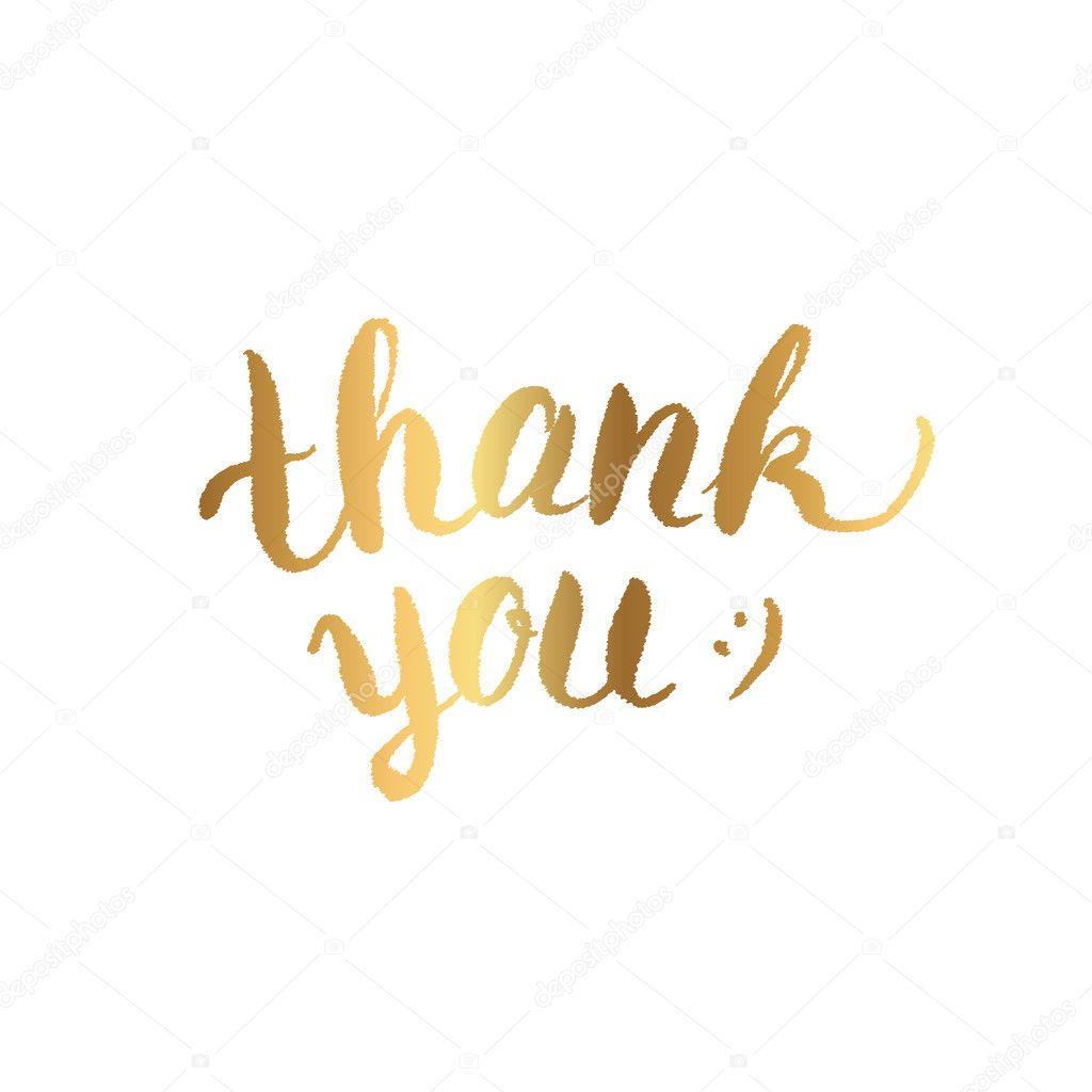 thank you calligraphy gold text on white background lettering
