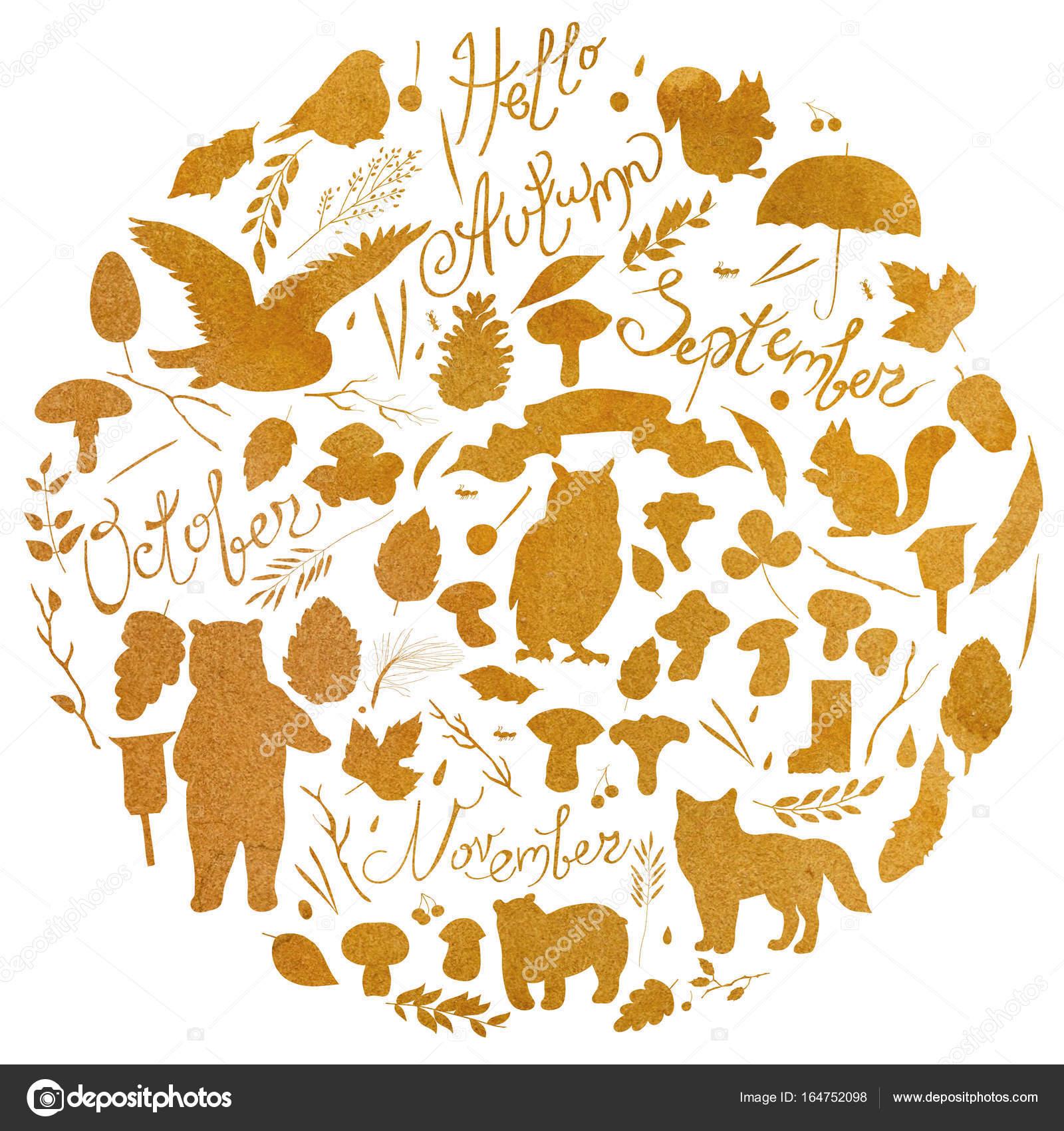 水彩イラスト、葉、枝、果実、花、動物と鳥、秋の要素、クマ、リス