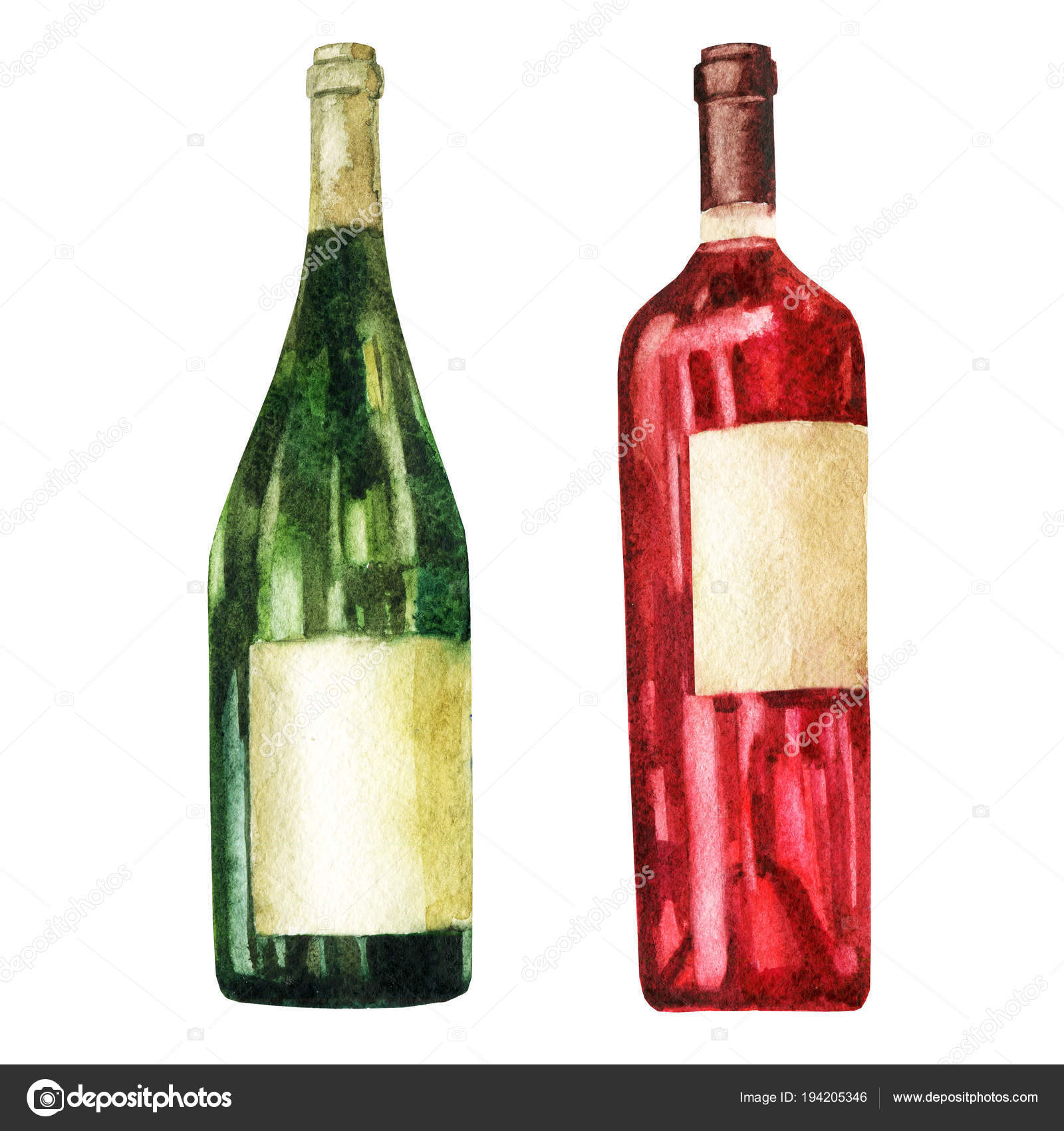 Watercolor Illustration Image Of Bottles Wine Stock Photo By C Margo Soleil Yandex Ru 194205346