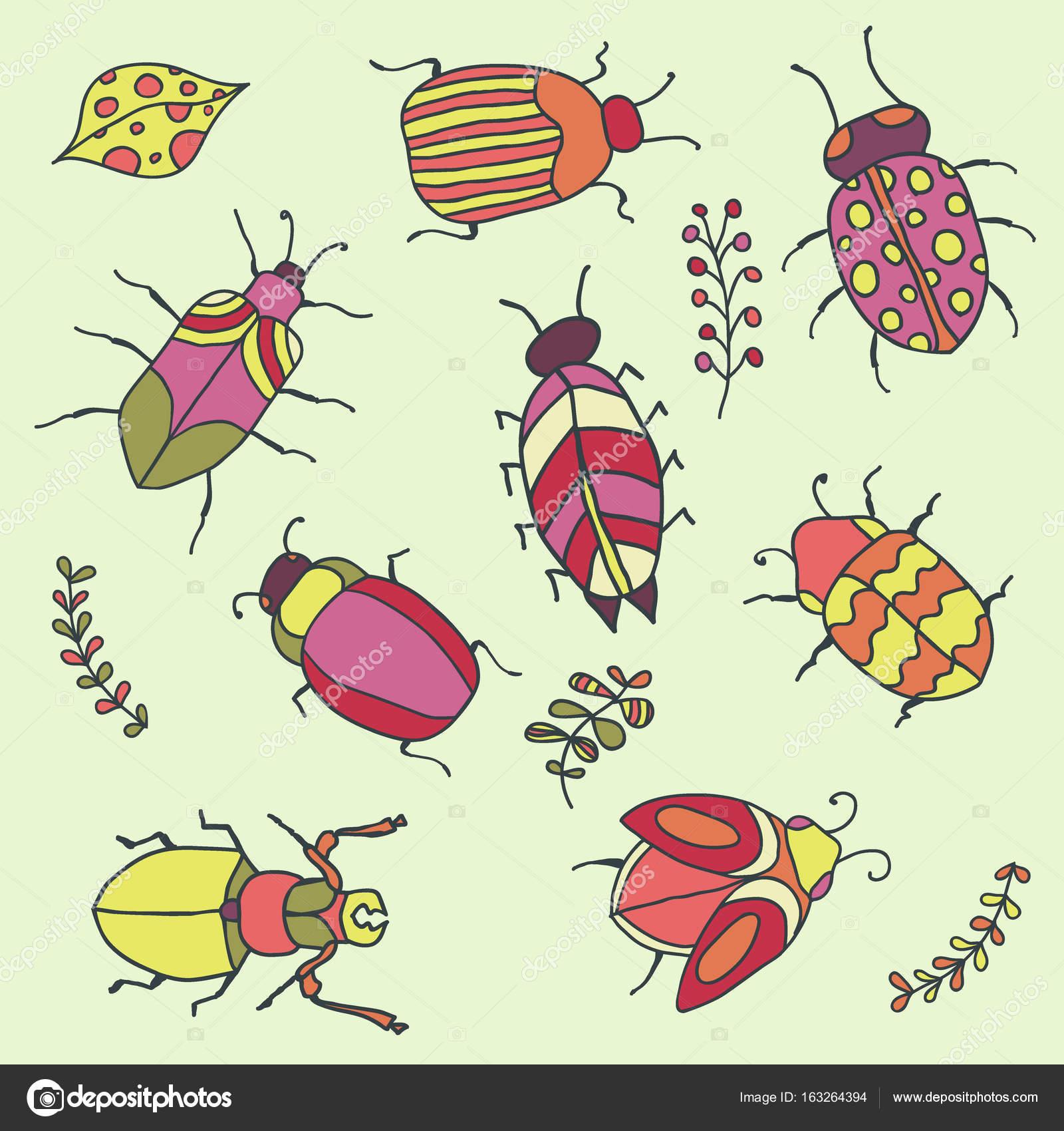 Satz von Doodle handgezeichnete Insekten in frischen Frühlingsfarben ...