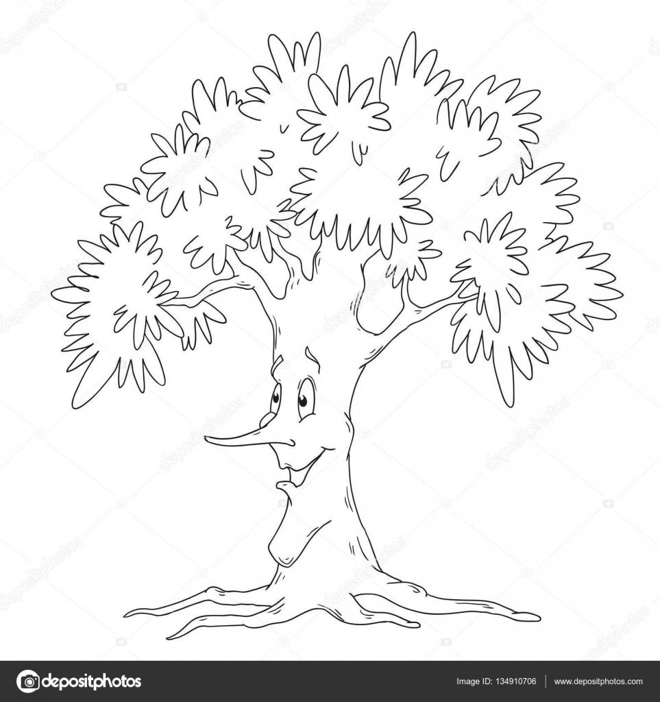 Komik Karakter Ağacı Boyama Kitabı Yaprak Döken Ağaç Vektör Izole