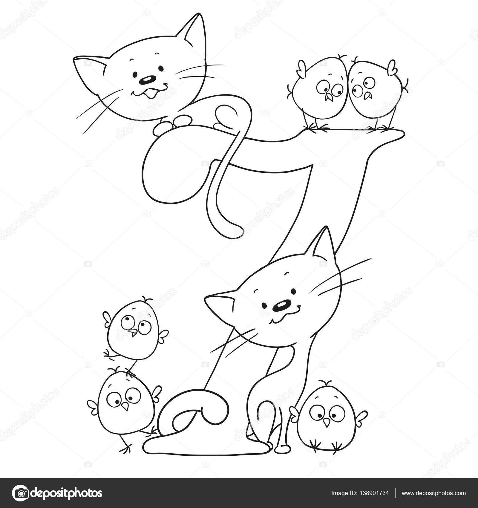 Yedi Numara Sevimli çizgi Hayvanlar Sayılar Ve Hayvanlar Tavuk Ve