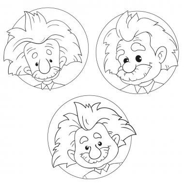 JANUARY 20, 2017: A vector illustration of a set of portraits of Albert Einstein. Cartoon portrait isolated, vector editorial. Einstein, scientist, professor, genius, mathematician, physicist, chemist