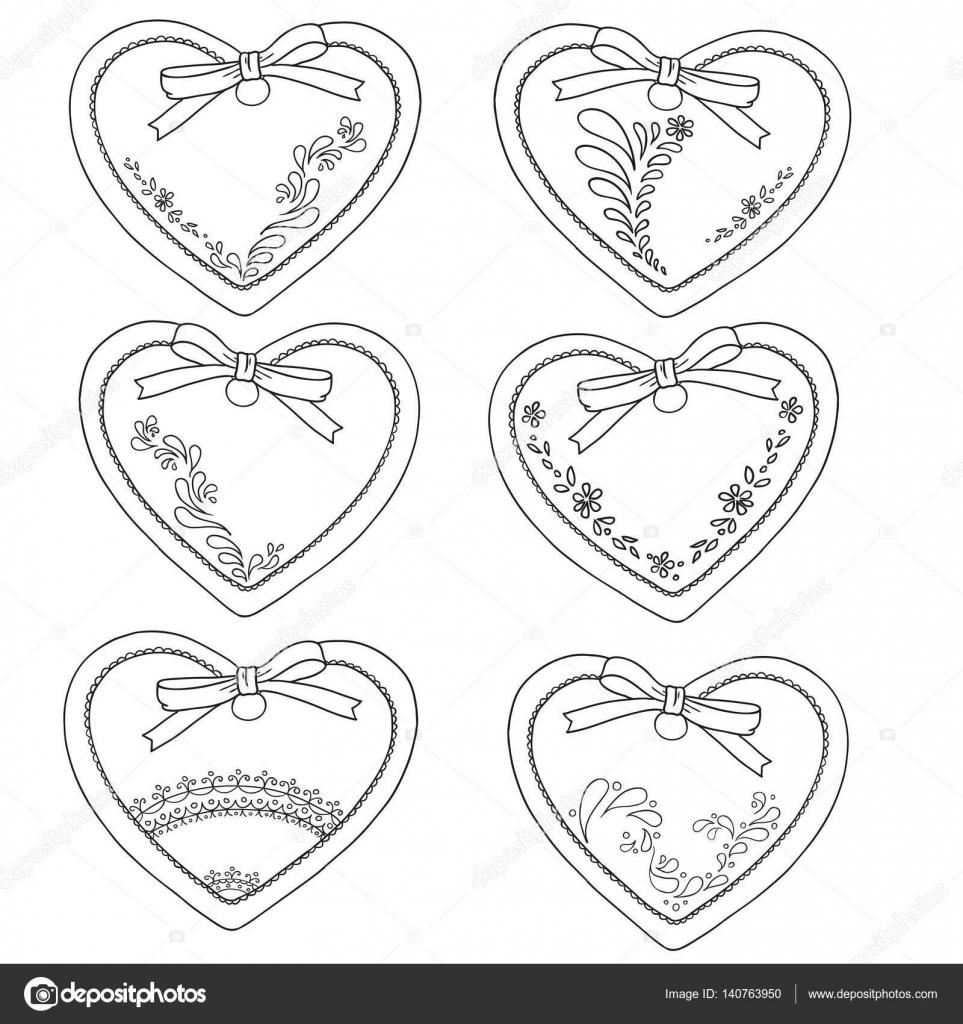 Colección de corazón de pan de jengibre. Día de los enamorados ...