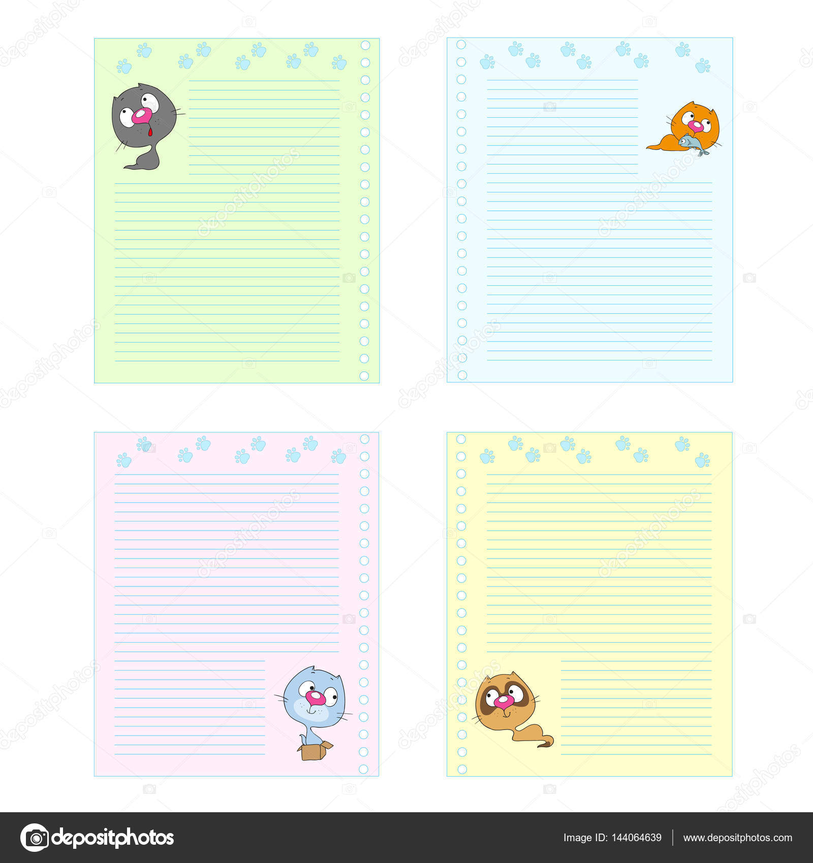 Collection Colored Pages Cute Cartoon Cats Template Notebook ...