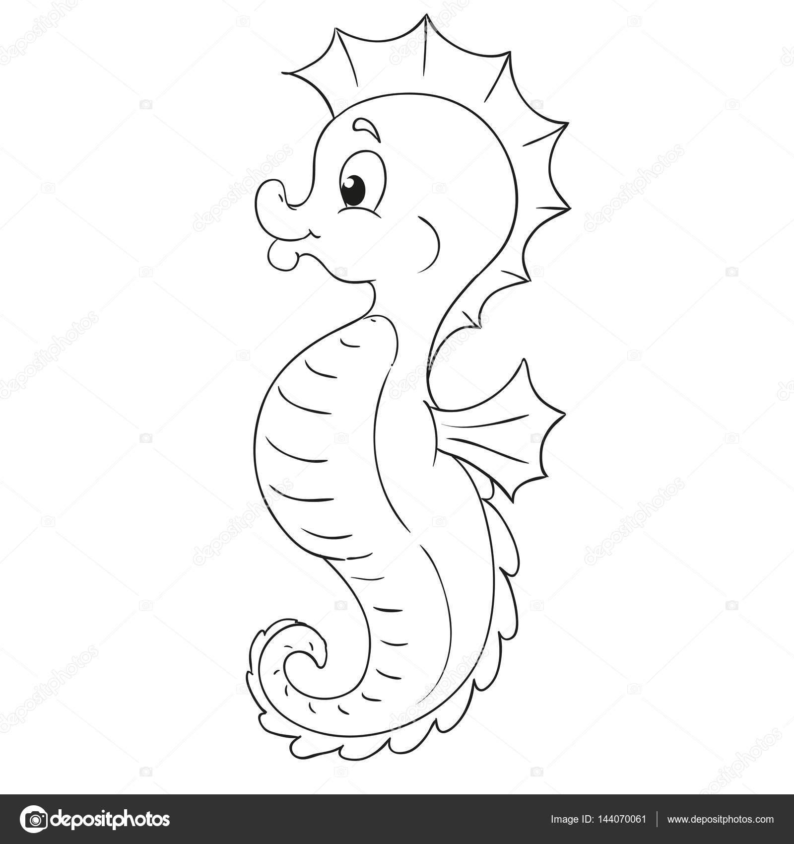 Dibujos animados de Caballito de mar. Contorno negro para colorear ...