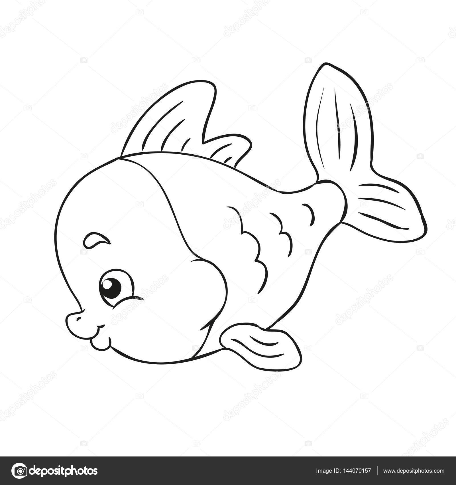 Pequeño pez. Contorno negro para colorear libro. Contorno de vector ...