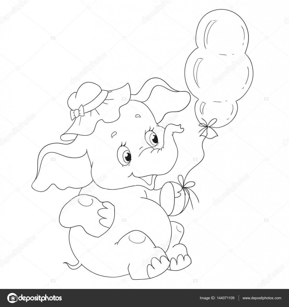 Lindo bebé elefante con un globo. Libro de páginas para colorear ...